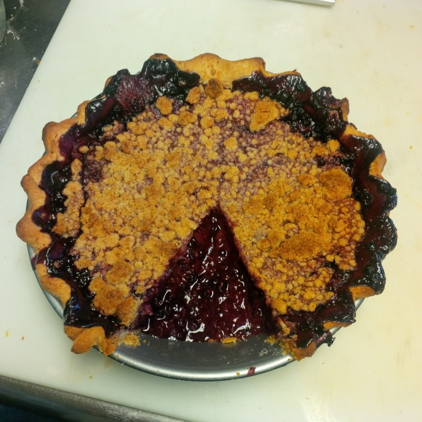 Triple Berry Pie with Crumb Topping